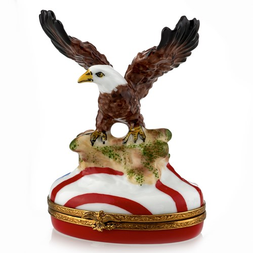 Eagle with American Flag Limoges Box