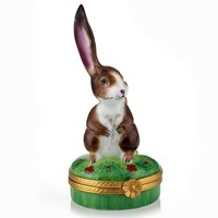 Rabbit with Ear Up Limoges Box