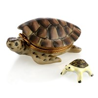 Brown Turtle with Baby Limoges Box