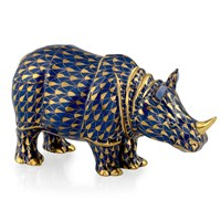 Herend Rhinoceros, Cobalt & Gold