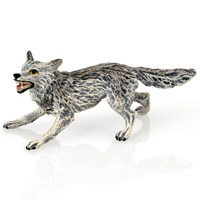 Austrian Bronze Wolf Attacking, Small Figurine