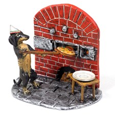 Austrian Bronze Dachshund Making Pizza