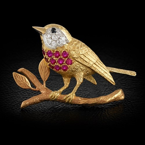 18k Yellow Gold Robin Pin with Diamonds and Rubies