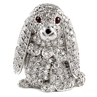 18k WG Lop-eared Rabbit Pin