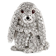 18k White Gold Lop-Eared Rabbit Pin