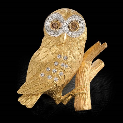 18K Gold Barn Owl Pin with Diamonds