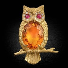 18K Yellow Gold Owl Pin with Citrine, Diamonds and Rubies