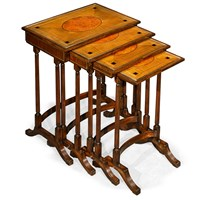 Inlaid Mahogany Nesting Tables, Set of 4