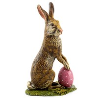 Austrian Bronze Rabbit with Easter Egg on Grass Figurine