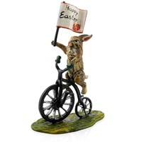 Austrian Bronze Happy Easter Rabbit on Bicycle Figurine