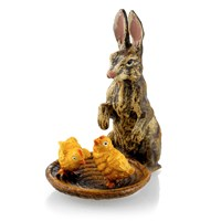 Austrian Bronze Rabbit Sitting by Chicks in Basket Figurine