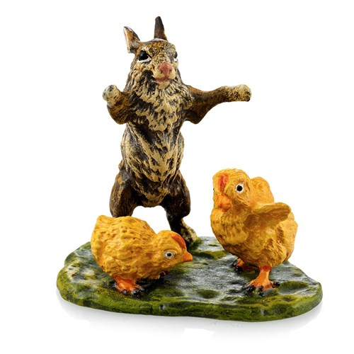 Austrian Bronze Rabbit with Chicks on Grass Figurine