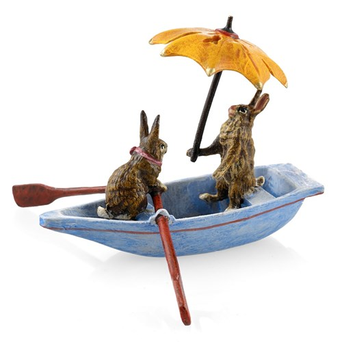 Austrian Bronze Rabbits in Boat with Umbrella Figurine