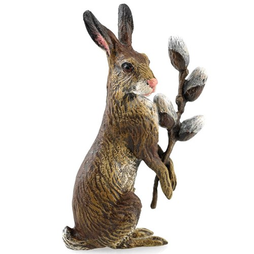 Austrian Bronze Rabbit with Pussy Willow, Large Figurine