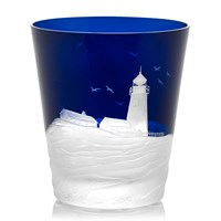 Golden Age of Yachting Lighthouse Ice Bucket, Ink Blue