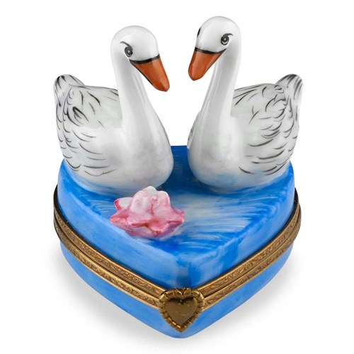Two Swans on Heart Limoges Box