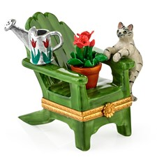Adirondack Chair with Cat, Watering Can & Plant Limoges Box