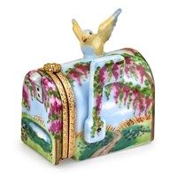 Wisteria Yellow Bird Mailbox Limoges Box
