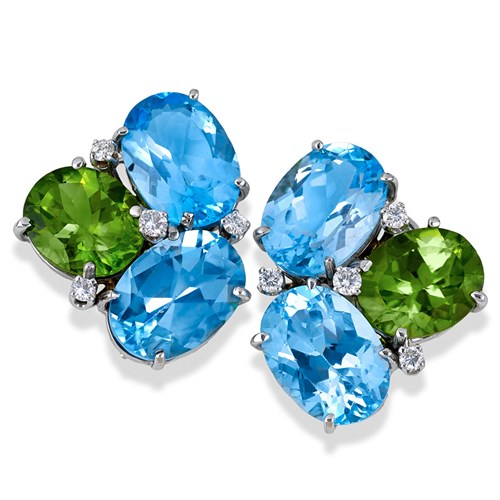 "18k White Gold ""Pebble"" Earrings with Blue Topaz & Peridot"