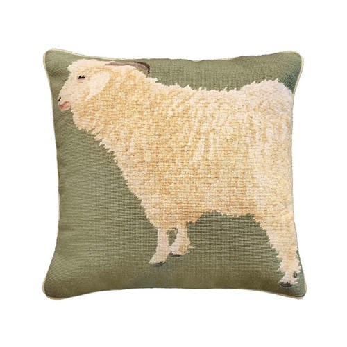 Angora Goat Needlepoint Pillow