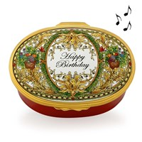 Happy Birthday Oval Musical Box