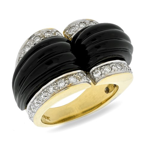 18k Onyx & Diamond Kissing Ring