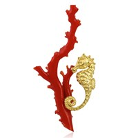 18k Yellow Gold Seahorse on Coral Branch Pin