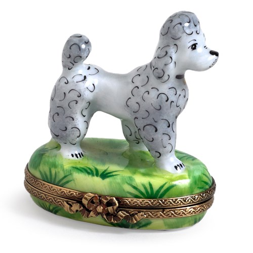 Gray Poodle Limoges Box
