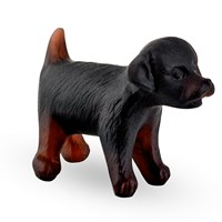 Daum Mini Puppy Figurine, Brown & Black