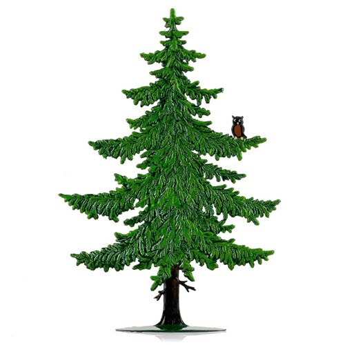 Large Summer Pine Tree with Owl