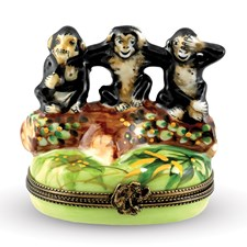 Three Wise Monkeys Limoges Box
