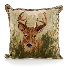 Needlepoint Pillow, Stag in Forest