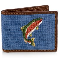 Petitpoint Trout and Fly Wallet (Stream Blue)