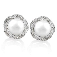 Diamond Halo Nest and Pearl Earrings