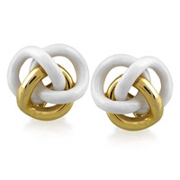 White Agate and 18K Gold Knot Earrings