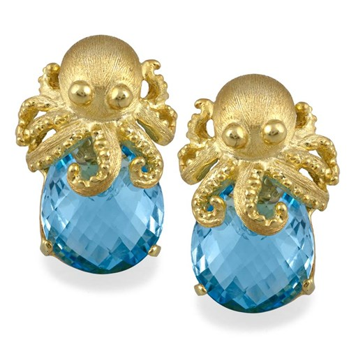 Gold Octopus on Blue Topaz Earrings