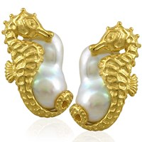Gold Seahorse on Baroque Pearl Earrings