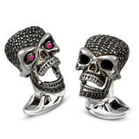 Sterling Silver Black Spinel Pave Skull Cufflinks