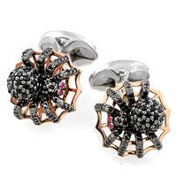 Sterling Silver Black Spinel Pave Spider Cufflinks