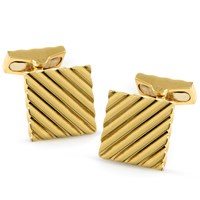 18k Gold Square Engine Turned Cufflinks