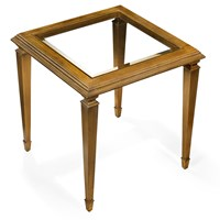 Antique Gold Leaf End Table with Glass Top