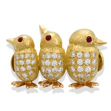 18k Yellow Gold Penguin Chicks Pin