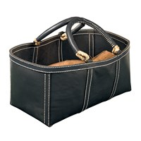 Leather Log Bag, Gray