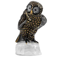 Herend Owl on Base, Black & Gold