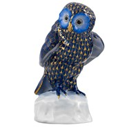 Herend Owl on Base, Cobalt & Gold
