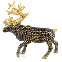 Herend Reindeer, Black & Gold