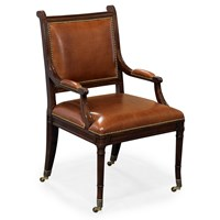Carved Mahogany & Leather Game Chair
