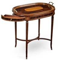 Rosewood & Satinwood Banded Tray Top Table