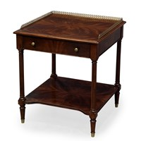 Two-Tier Mahogany Bedside Table with Brass Gallery
