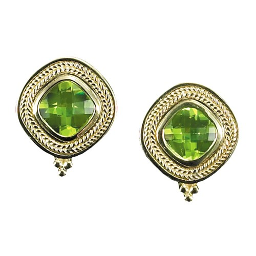 18K Gold Peridot Earrings with Rope Border